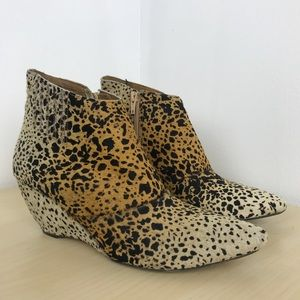 Matisse nugent leopard cow hair wedge booties